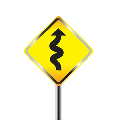 Traffic sign with winding road vector image