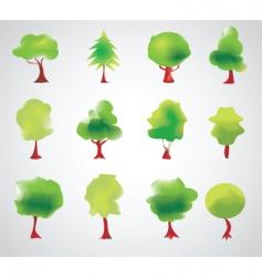 tree symbols vector image vector image