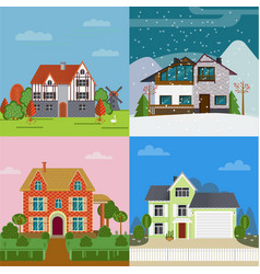 colorful suburban cottages flat concept vector image vector image