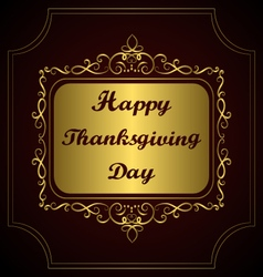 Happy Thanksgiving day Congratulation on gold vector image