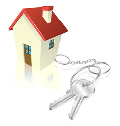house attached to keys as keyring vector image vector image