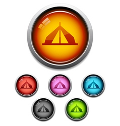 Tent button icon vector image
