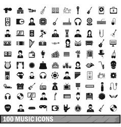 100 music icons set simple style vector