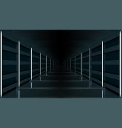 3d futuristic modern hallway dark corridor garage vector image