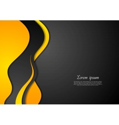 Abstract black and yellow waves vector