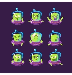 Alien In Ufo Emoticon Set vector
