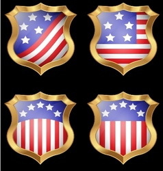 American flag on metal shiny shield vector