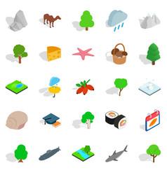 Animal planet icons set isometric style vector