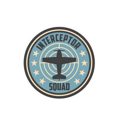 Army chevron insignia interceptor plane squad vector
