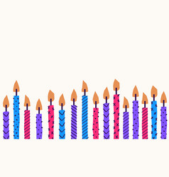 background birthday cake candles with lines vector image