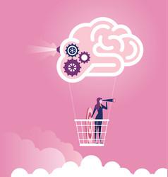 big idea businesswoman flying in brain air balloon vector image