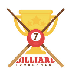 Billiard tournament emblem with crossed cues and vector