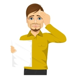 Businessman disappointed about test results vector