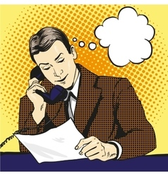 Businessman talking phone and reading documents vector