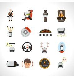 Car safety system icons vector