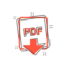 cartoon pdf file icon in comic style pdf download vector image