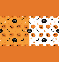 cartoon pumpkins halloween pattern background vector image