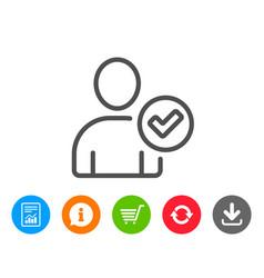 Checked user line icon profile avatar sign vector