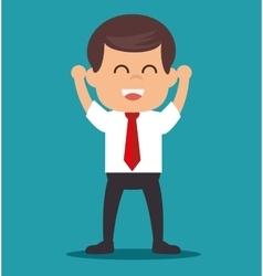 Cheerful businessman startup progress vector