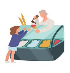 Child buying ice cream from gelato seller vector