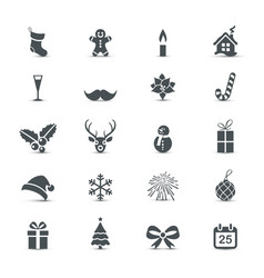 christmas and new year icons collection vector image