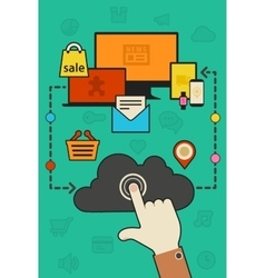 Cloud computing and synchronization concept vector