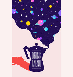 coffee italian coffee pot with universe dreams vector image