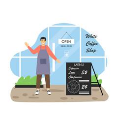Coffee shop scene menu board barista standing vector
