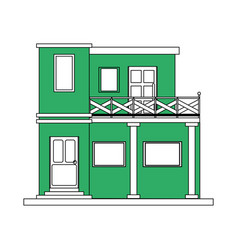 Color silhouette cartoon green facade modern house vector