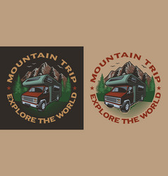 Coloured with camping van on theme travel vector