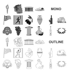 Country greece monochrom icons in set collection vector