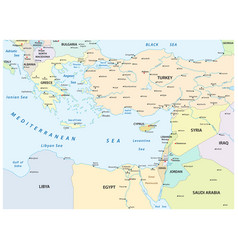 country map eastern mediterranean sea vector image