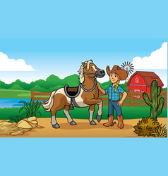 cowgirl and horse in farm vector image