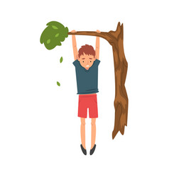 Cute boy hanginig on a tree branch vector