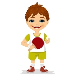 cute boy holding a table tennis racket vector image
