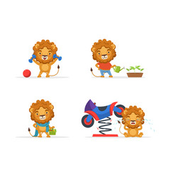 cute lion character in different situations funny vector image