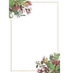 Decorative golden rectangular frame with brunia vector