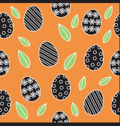 easter seamless pattern background cute outline vector image