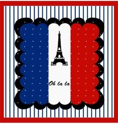 Eiffel Tower n the France Flag vector