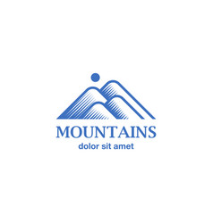 Engraving style blue mountains icon vector