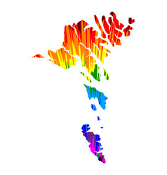 Faroe islands - map is designed rainbow abstract vector