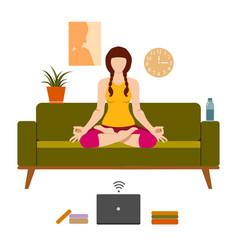 female cartoon character practicing hatha yoga vector image
