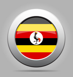 flag of uganda shiny metal gray round button vector image