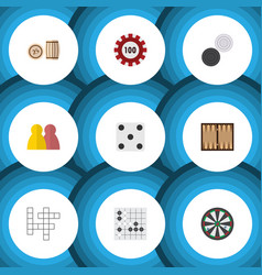 flat icon games set of chequer backgammon vector image