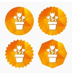 Flowers in pot sign icon Bouquet of roses vector image