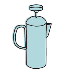French press hand drawn vector