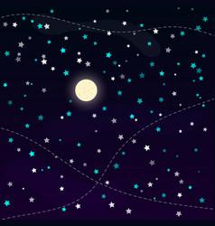 full moon and shining stars at night sky vector image