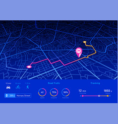 gps navigator pin blue color mock up with vector image