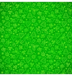 Green ornate Christmas symbols seamless pattern vector image vector image