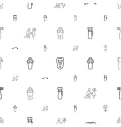 Groom icons pattern seamless white background vector